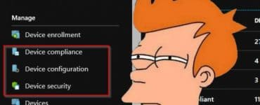 a picture of fry from futurama looking at intune configurations