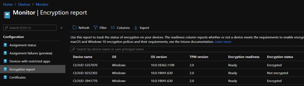 Intune bitlocker report